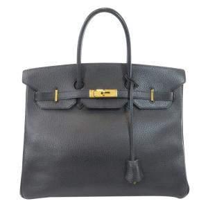 Hermes Black Ardennes Leather Gold Hardware Birkin 35 Bag
