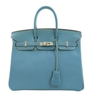 Hermes Blue Epsom Leather Palladium Hardware Birkin 25 Bag