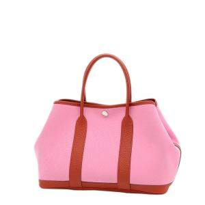 Hermes Pink Canvas Garden Party TPM Tote Bag