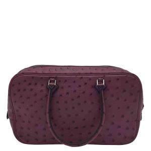 Hermes Purple Medium Exotic Leather Plume Satchel Bag