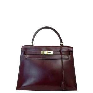Hermes Burgundy Leather Gold Hardware Kelly Bag