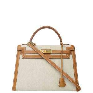 Hermes Beige Canvas Leather Gold Hardware Kelly Bag