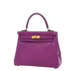 Hermes Purple Swift Leather Gold Hardware Kelly 25 Bag