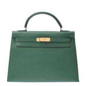 Hermes Green Leather Gold Hardware Kelly 32 Bag
