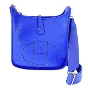 Hermes Blue Clemence Leather Evelyne Shoulder Bag