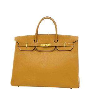 Hermes Brown Chevre Leather Gold Hardware Birkin 40 Bag