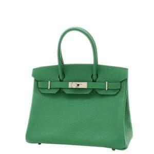 Hermes Green/Cactus Epsom Leather Palladium Hardware Birkin 30 Bag
