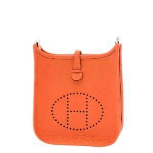 Hermes Orange Clemence Leather Evelyne TPM (2021) Bag
