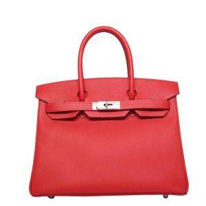 Hermes Red/Rouge Epsom Leather Palladium Hardware Birkin 30 Bag