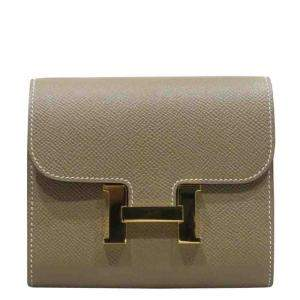 Hermes Grey/Brown Leather Constance Compact Wallet