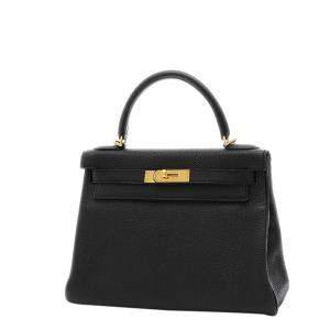 Hermes Black Togo Leather Gold Hardware Kelly 28 Bag
