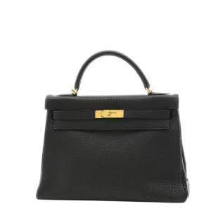 Hermes Black Togo Leather Gold Hardware Kelly 32 Bag