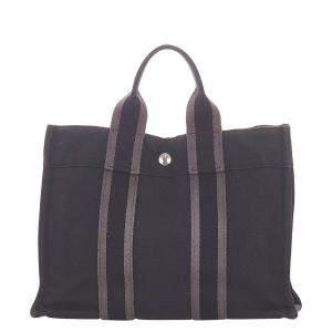 Hermes Black Canvas Fourre Tout Clutch Bag
