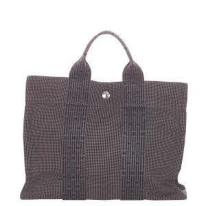 Hermes Grey Canvas Fourre Tout PM Bag