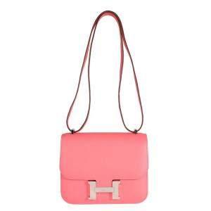 Hermes Rose Azalee Leather Evercolor Constance 18 Bag