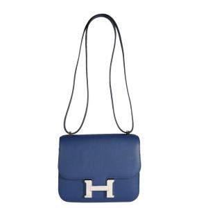 Hermes Blue Saphir Swift Leather Constance 18 Bag