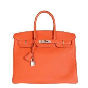 حقيبة هيرمس بيركين 35 جلد توغو معدن بالاديوم برتقالي