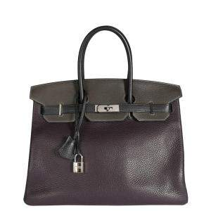 Hermes Tricolor Togo Leather Palladium Hardware Birkin 35 Bag