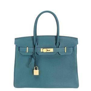 Hermes Blue Togo Leather Gold Hardware Birkin 30 Bag