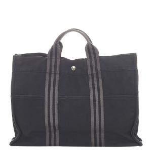 Hermes Black Canvas Fourre Tout Tote Bag