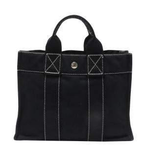 Hermes Black Canvas Deauville Tote Bag