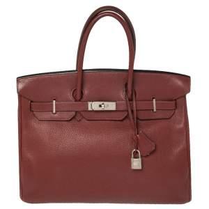 Hermes Rubis Togo Leather Palladium Finished Birkin 35 Bag
