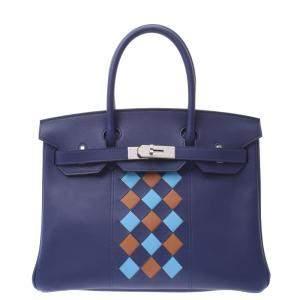 Hermes Blue Swift Leather Palladium Hardware Tressage Birkin 30 Bag