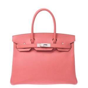 Hermes Pink Epsom Leather Palladium Hardware Birkin 30 Bag