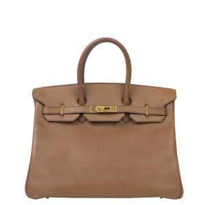 Hermes Brown Leather Gold Hardware Medium Birkin Bag