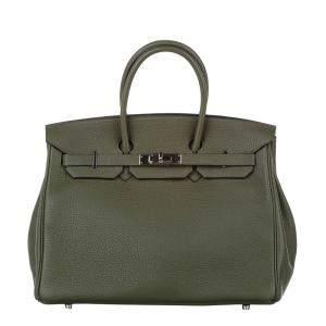 حقيبة هيرمس بيركين 35 معدن بالاديوم وجلد عجل أخضر