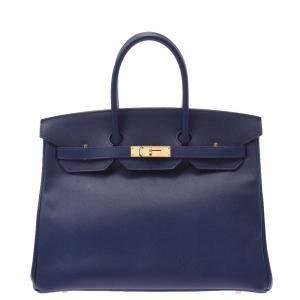 Hermes Blue/Navy Blue Epsom Gold Hardware Leather Birkin 35 Bag
