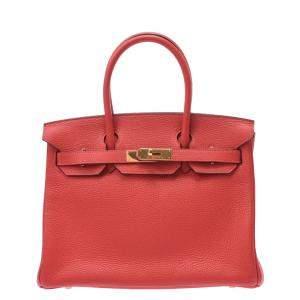 Hermes Red Clemence Leather Gold Hardware Birkin 30 Bag