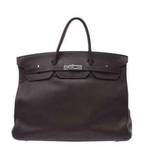 Hermes Grey Leather Palladium Hardware Birkin 40 Bag
