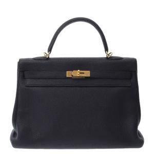 Hermes Black Togo Leather Gold Hardware Kelly 35 Bag