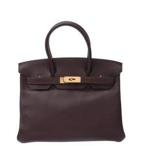 Hermes Brown Swift Leather Gold Hardware Birkin 30Bag