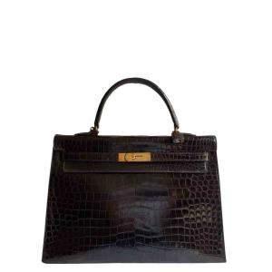 Hermes Brown Porosus Crocodile Leather Gold Hardware Kelly 35 Bag