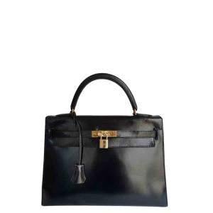 Hermes Black Leather Gold Hardware Kelly Bag