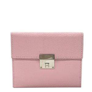 Hermes Pink Leather Clic Mini Card Wallet