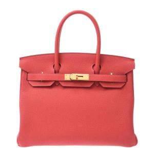 Hermes Pink Togo Leather Gold Hardware Birkin 30 Bag