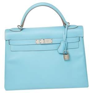 Hermes Bleu De Nord Epsom Leather Palladium Finished Kelly Retourne 32 Bag
