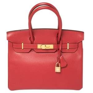 حقيبة هيرمس بيركين 30 مطلي ذهبي جلد إبسوم أحمر