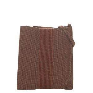 Hermes Brown Canvas Herline Crossbody Bag
