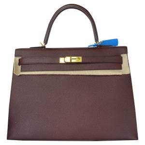 Hermes Bordeaux Epsom Leather Gold Hardware Kelly Sellier 35 Bag