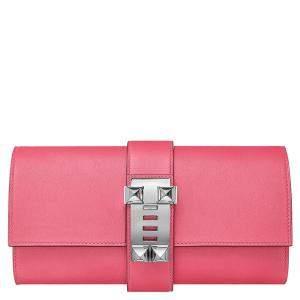 Hermès Pink Leather Medor Clutch Bag