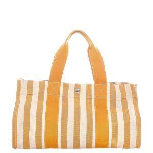 Hermes Yellow/White Canvas Cannes MM Tote Bag