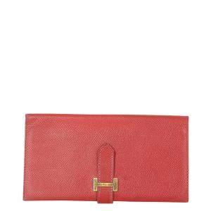 Hermes Red Epsom Leather Bearn Wallet