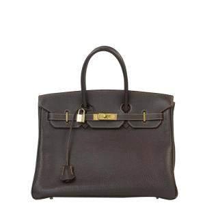 Hermes Brown Togo Leather Gold Hardware Birkin 35 Bag