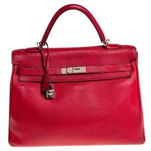 Hermes Rouge Garance Taurillon Clemence Leather Palladium Finished Kelly Retourne 35 Bag