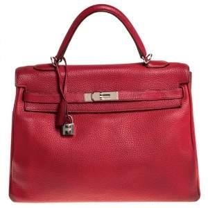 حقيبة هيرمس كيلي ريتورن 35 جلد توريلون كليمينس غارانس روج أحمر إكسسوار مطلي بلاديوم