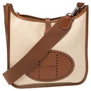 Hermes Natural Barenia Leather and Toile Canvas Evelyne II PM Bag